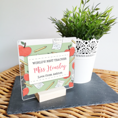 Personalised Acrylic World's Best Teacher - Apples and Notebooks Design - Desk sign and Oak Stand Teachers