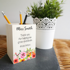 Colour Printed Wooden Pencil Pot - Floral Teachers