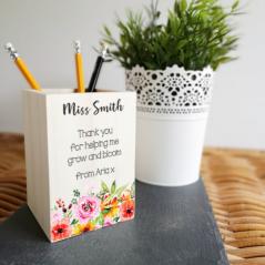 Colour Printed Wooden Pencil Pot - Floral