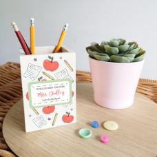 Colour Printed Wooden Pencil Pot - Apple and Notebooks Design Teachers