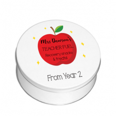 Personalised Printed White Tin - Red Apple