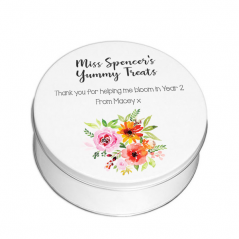 Personalised Printed White Tin - Teacher Treats - Floral