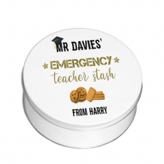 Personalised Printed White Tin - Black and Gold