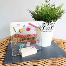 Personalised Acrylic - Teacher Sign with Pens and Oak Stand Teachers