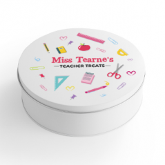 Personalised Printed White Tin - Pens and Pencils