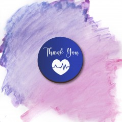 3mm Printed Pocket Hug - Blue Thank You Printed Buttons