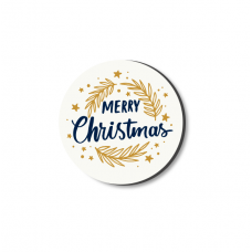 3mm Printed Token - Merry Christmas - White and Gold Christmas Craft Shapes