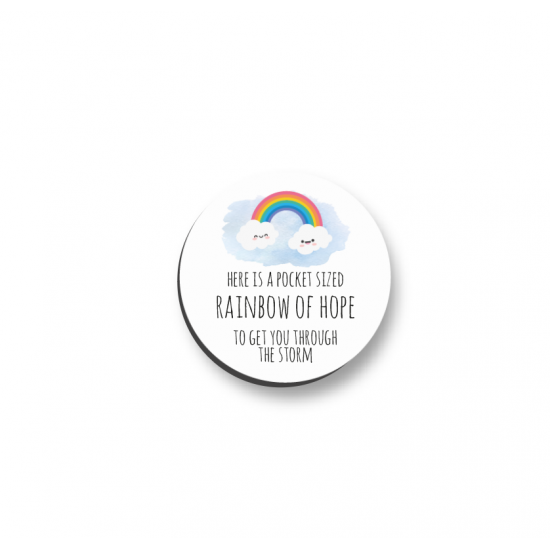 3mm Printed Pocket Rainbow Pocket Hug - To Get You Through The Storm Printed Buttons