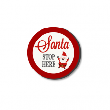 3mm Printed Token - Santa Stop Here - Red and White Christmas Craft Shapes