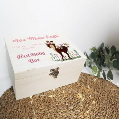 Personalised Printed Wooden Box - Girls First Baby Box - Baby Deer