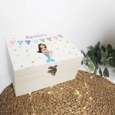 Personalised Printed Wooden Box - Mermaid  Personalised and Bespoke