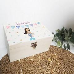 Personalised Printed Wooden Box - Mermaid