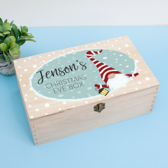 Personalised Rectangular Printed Box - Gnome Blue