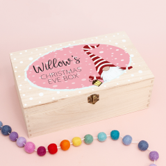 Personalised Rectangular Printed Box - Gnome Pink