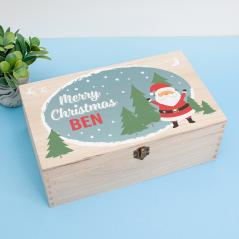 Personalised Rectangular Printed Box - Happy Santa Blue Personalised and Bespoke