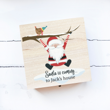 Personalised Square Printed Box Design  - Santa is Coming! Personalised and Bespoke