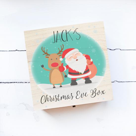 Personalised Square Printed Box Design - Turquoise Santa Personalised and Bespoke