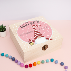 Personalised Square Printed Box Design - Gnome Pink Personalised and Bespoke