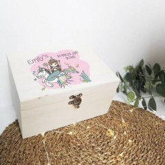 Personalised Printed Wooden Box - Unicorn and Mermaid Bobbles and Bows Box