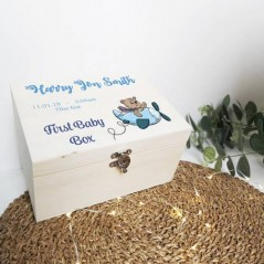 Personalised Printed Wooden Box - Boys First Baby Box - Teddy