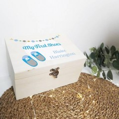 Personalised Printed Wooden Box - Boys First Shoes