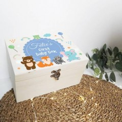 Personalised Printed Wooden Box - Animals - Blue