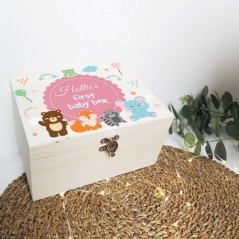 Personalised Printed Wooden Box - Animals - Pink