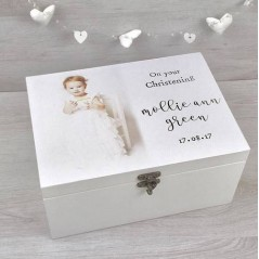 Personalised Printed Deluxe White Christening Box