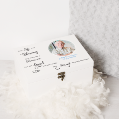 Personalised Printed Deluxe White Memory Box Personalised and Bespoke