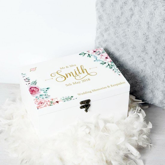 Personalised Printed Deluxe White Wedding Memories Box - Vintage Rose Design