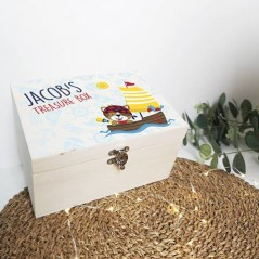 Personalised Printed Wooden Box - Treasure Chest