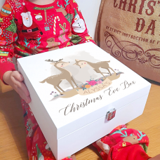 Deluxe White Painted Christmas Eve Box - Cute Deer Watercolour Personalised and Bespoke