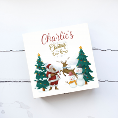 Deluxe White Painted Christmas Eve Box - Traditional Santa and Snowman Scene