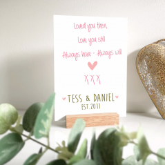 Personalised Printed A5 Acrylic Plaque - Love You