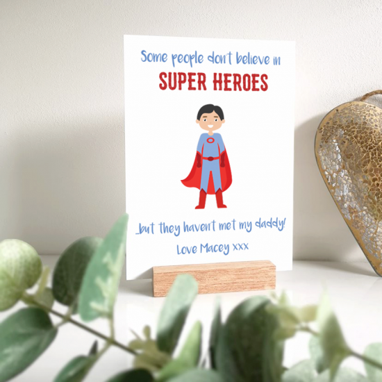 Personalised Printed A5 Acrylic Plaque - Superhero Mother's Day