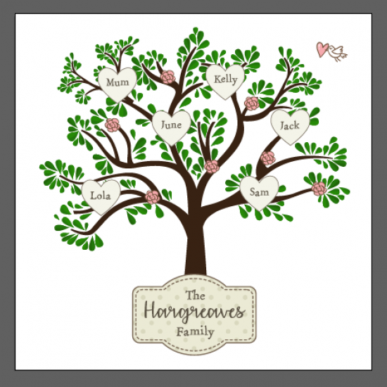 Printed Acrylic Family Tree - Leafy Tree with Plaque Personalised and Bespoke