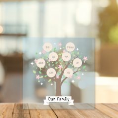 Printed Acrylic Family Tree - Our Family Tree with Circles Personalised and Bespoke