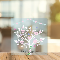 Printed Acrylic Family Tree - Our Grandchildren with Heart Bunting Personalised and Bespoke