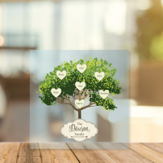 Printed Acrylic Family Tree - Green Tree with Plaque Personalised and Bespoke