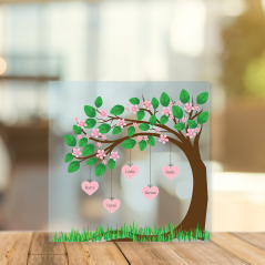 Printed Acrylic Family Tree - Cherry Blossom with Hanging Hearts Personalised and Bespoke
