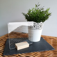 3mm Acrylic Desk Stand 15cm x 15cm (WITH SQUARE OAK STAND) ACRYLIC ITEMS