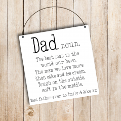 3mm Printed Square Plaque - Dad - Noun  Personalised and Bespoke