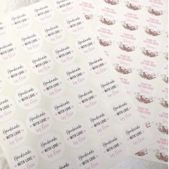Printed Vinyl Sticker Sheets - Handmade With Love - Matt PRINTED VINYL DESIGNS