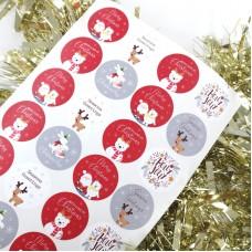 Printed Vinyl Christmas Stickers - Mixed Circles Sheet Christmas Crafting