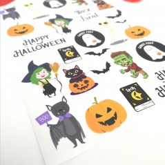 Printed Vinyl Sticker Sheets - Mixed Halloween Halloween