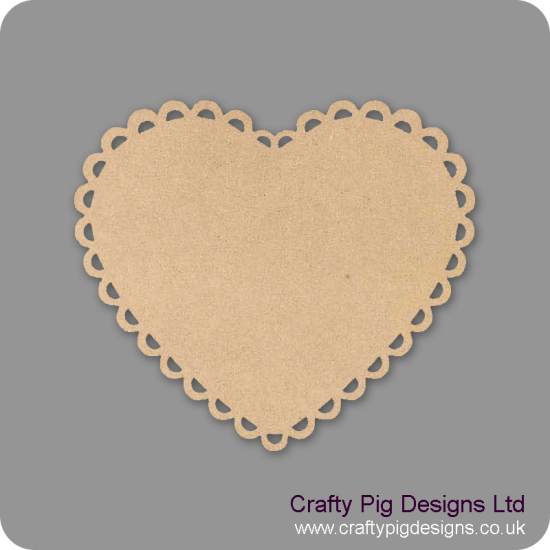 3mm MDF Scalloped Wide Heart Plaque Basic Plaque Shapes