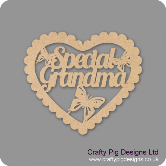 3mm MDF Scalloped Heart with Special Mum Nan Nana Nanna Grandma etc Hearts With Words