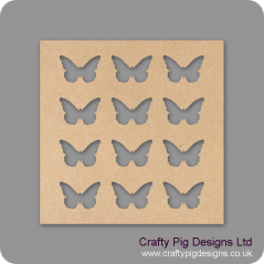 25cm Square plaque with 12 butterflies cut out