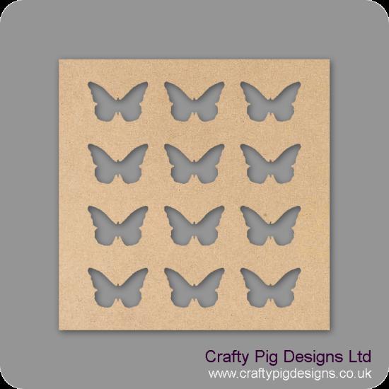 25cm Square plaque with 12 butterflies cut out Basic Plaque Shapes