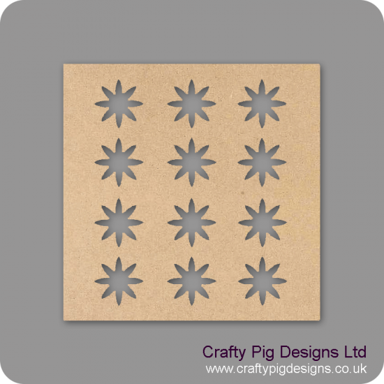 25cm Square plaque with 12 daisies cut out Basic Plaque Shapes